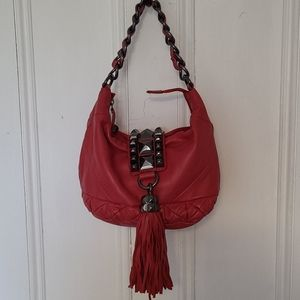 Betsey Johnson whips and studs tote lambskin red